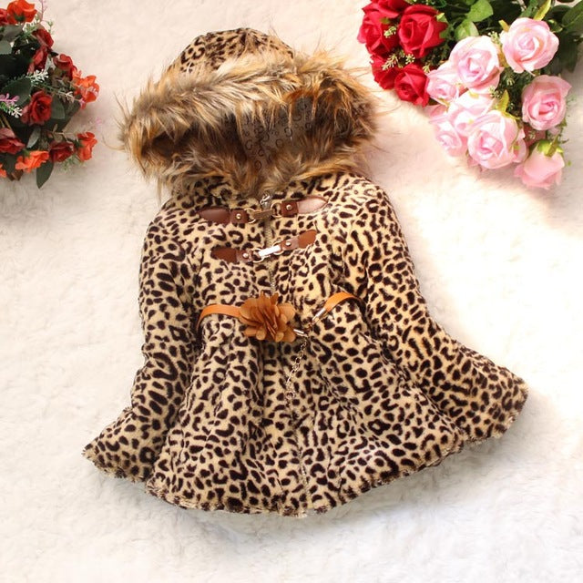 Winter Children Coat Leopard faux fox fur collar coat Jacket Baby Girl Outerwear Hoodies Infant Clothing cashmere Warm Jackets - KiddyLanes