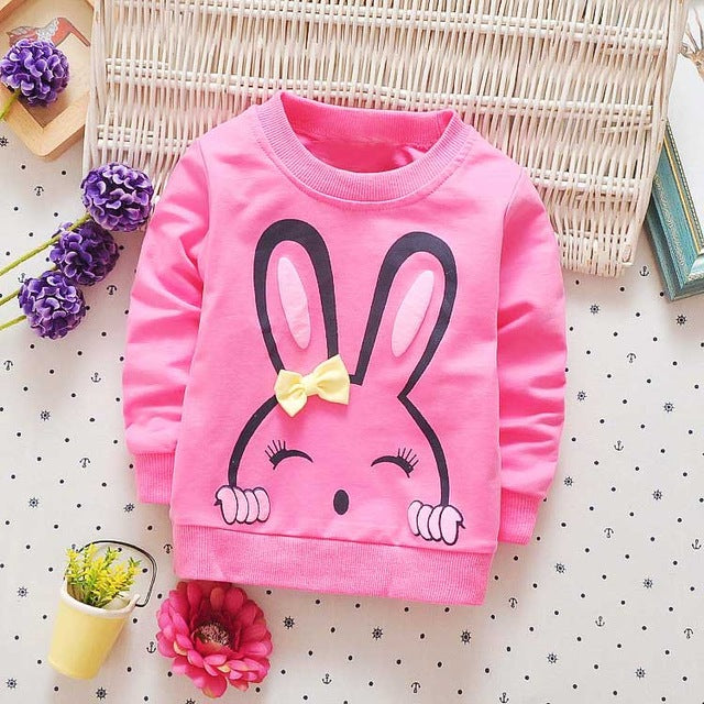 Rabbit printed long sleeve tops for girls - KiddyLanes