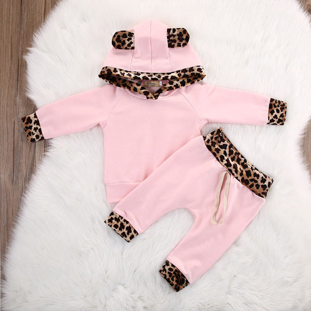 Unisex Infant Toddlerm Newborn Baby Girl Clothes Leopard Side Pink Coat Hoodie Top Sweatshirt Pants Leggings Outfits Set - KiddyLanes
