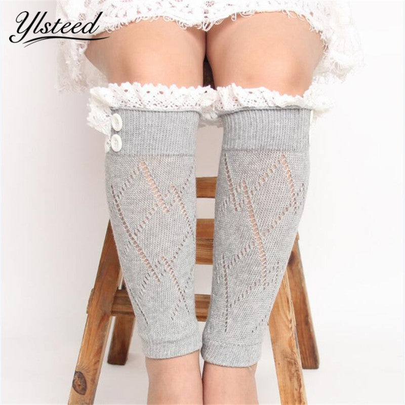 Children winter knitted leg warmers lace Trim boots cuffs baby girls rhombus buttons boot socks Toppers pink/blue/black/white - KiddyLanes