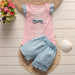 BibiCola summer baby girls clothing sets girls summer set 2pcs children girls flower bow T-shirt +shorts tracksuit - KiddyLanes