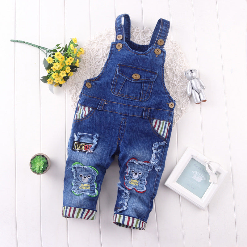Spring Autumn leisure braces Pants/Denim for Newborns - KiddyLanes