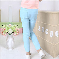 WEONEWORLD Summer Elestic Waist Children Kids Pants Baby Girl Jeans Candy Color Solid Causal Jeans For Girls Leggings - KiddyLanes