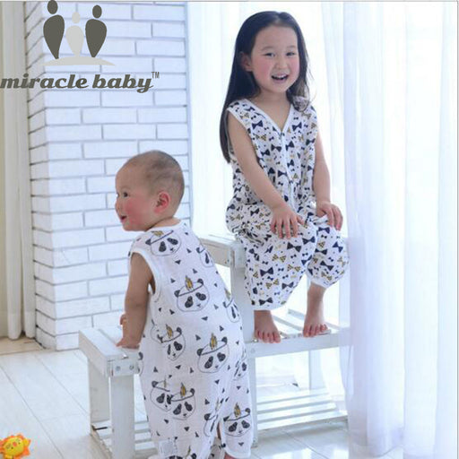 Miracle Baby Cotton Muslin Baby Sleeping Bag Single Layer Kids Sleepwear Summer Infant Sleepsacks Size S,M,L For 0-6 Years - KiddyLanes