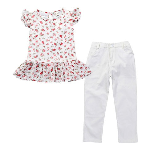 TZ331 Girls clothes summer girls clothes sets children's clothing floral girls shirts + pants children clothing sets 2-7y - KiddyLanes