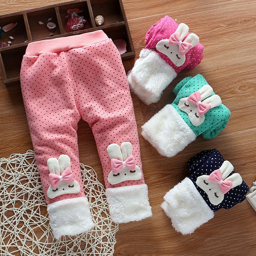 Baby Girl Winter Casuals | Cartoon & Dot Print Thick Warm Pants