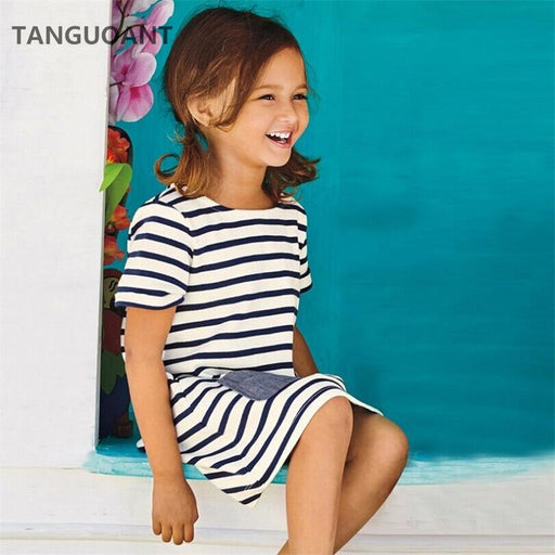 TANGUOANT Hot Sale 1-8 Years Girls Short Sleeve Blue Stripe Summer Dress Cotton Casual Dresses Kids Clothing - KiddyLanes