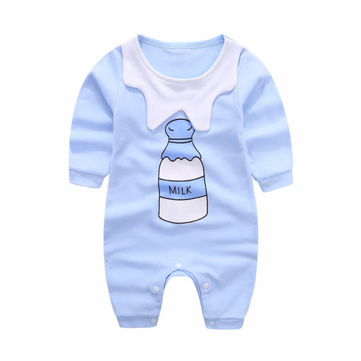Children Summer baby rompers Milk bottle printing jumpsuit clothing for new born 0-1 year newborn baby clothing - KiddyLanes