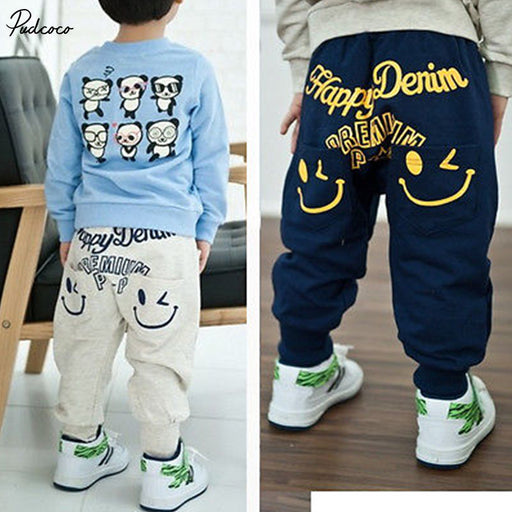 Kids Boys Girl Unique Smiling Clothes Harem Pants Trousers Cartoon Kids Sz2-7Y - KiddyLanes