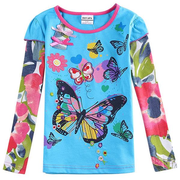Nova hot sale fuchsia O-neck baby girls t-shirt with cute printed spring autumn long sleeves - KiddyLanes