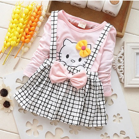 Spring Summer KT Cat Baby Girl Dress Long Sleeve 1 Year Baby Birthday Dress Strap Plaid Infant Girl Dresses - KiddyLanes