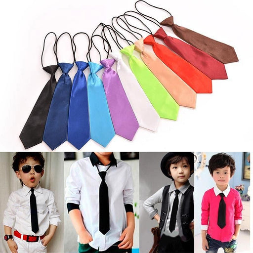 Boy Tie Kids Baby School Boy Wedding Necktie Neck Tie Elastic Solid Colour Stain Wholesale - KiddyLanes