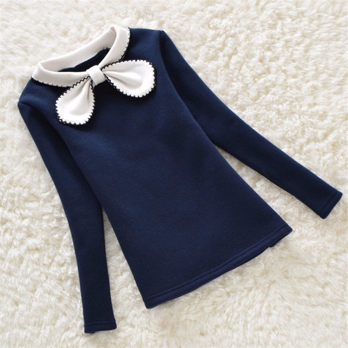 Girls Sweater Winter Children Clothing Plus Velvet Candy Colors Sweater Kids Girls Outerwear Warm Bottom Clothes - KiddyLanes