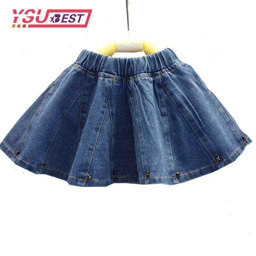2-7Yrs Girls Denim Skirts New Summer Style Children Kids Clothes Casual Toddler Girl Mini Party Jean Baby Tutu Skirt Girl Blue - KiddyLanes