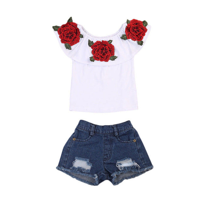 Infant Baby Kids Girls Clothes Set Clothing Ruffle Neck 3D Flower Tops Shirt Denim Hot Pants Girl Summer Costume Outfits 2PCs - KiddyLanes