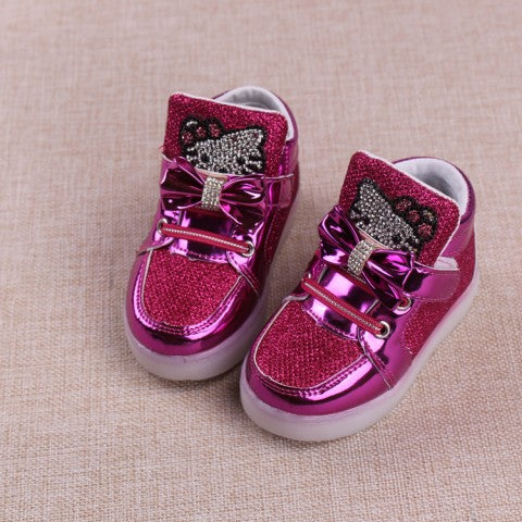 6c997cf68da 1 to 5 years old baby girls shoes kt fashion boots LED kids light shoes  children