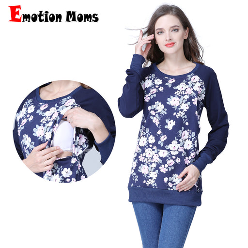 4ee22952489a0 Emotion Moms Long Sleeve winter Maternity Clothes Cotton Nursing Top  Breastfeeding tops for Pregnant Women maternity