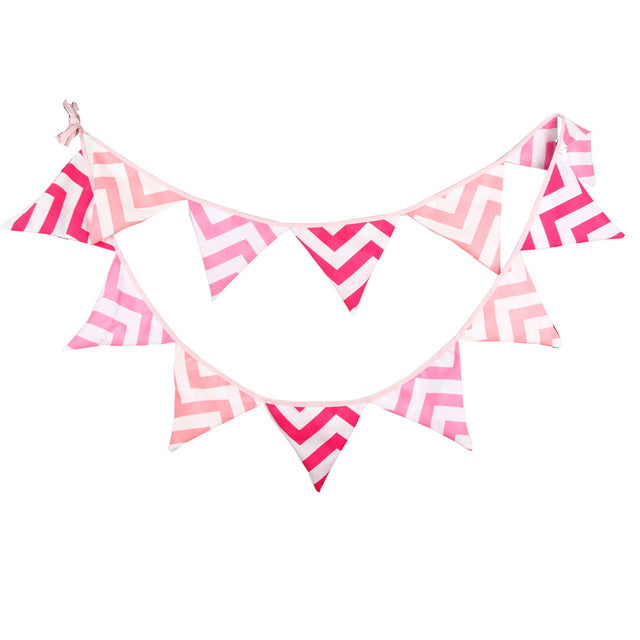 3.2m 12 Flags Handmade Cotton Cloth Banner Pennant Garland Children Kids Baby Shower Birthday Bunting Wedding Party Decoration - KiddyLanes