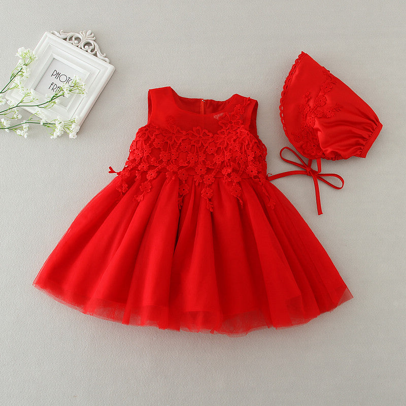 Baby Girl Dress + Hat Newborn Birthday Party Wedding Christening Gowns Ball Gown - KiddyLanes