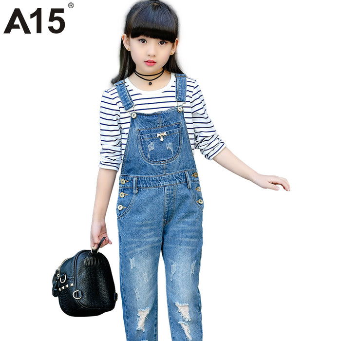 A15 Spring Hole Ripped Jeans for Girl Kids Clothing Denim Jumpsuit Overall Jeans Garcon Clothes Children Trousers Age 4 8 9 Year - KiddyLanes