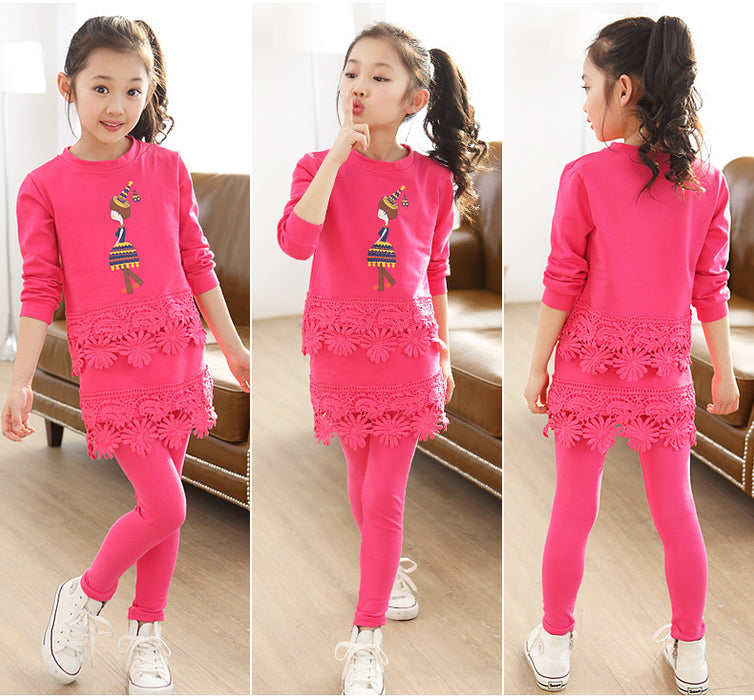 New Girls Clothing Sets Kids Girls Clothes Set Cotton T-shirt Skirt Pant Outfit Girls Sport Suit Children Clothes For 3-8 Y - KiddyLanes