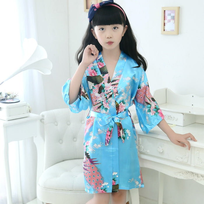Kids Robe Satin Children summer Kimono Bath Robes Bridesmaid Flower Girl Dress Silk children's bathrobe Nightgown Peacock robe - KiddyLanes