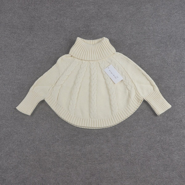 Baby Girls Sweaters Cape Children Cotton Sweater Coats Princess Turtleneck Cloak New Arrival Christmas Clothes Cardigan - KiddyLanes