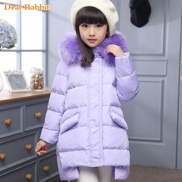 Fashion Girl winter down Jackets Children Coats warm baby 100% thick duck Down Kids Outerwears for cold -30 degree jacket - KiddyLanes