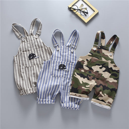 Casual Unisex Striped Camouflage Cotton Overalls Shorts - KiddyLanes