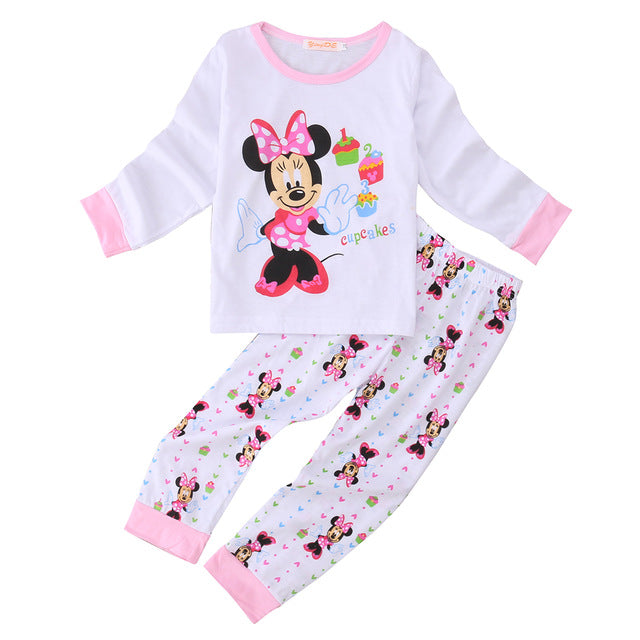 Cotton Kids Toddler Baby Girls Minn ie Mous e Sleepwear Pj's Cartoon Long Sleeve Top + Pant 2pcs Pajamas Sets 2-6Years - KiddyLanes