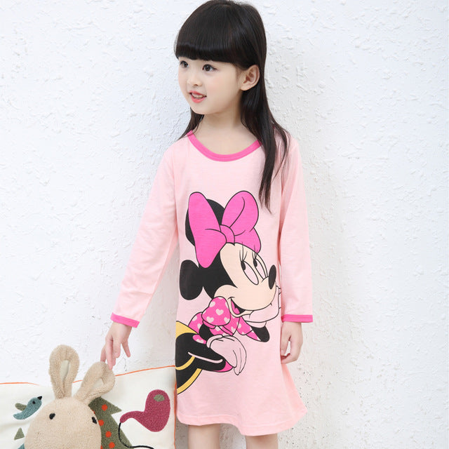48e963ece00a Girl Home Clothes 3-11Y Autumn   spring Style Girl Nightgowns Dress Children  Cloth Girls