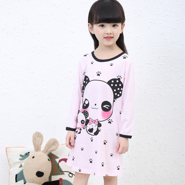 2f7906826 Girl Home Clothes 3-11Y Autumn   spring Style Girl Nightgowns Dress ...