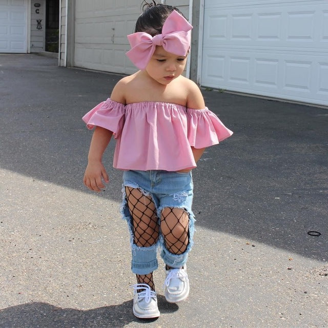 4c1d74d06368 Summer New Fashion Toddler Kids Baby Girl Blouses Clothes Off Shoulder Tops+Headband  Cute Baby