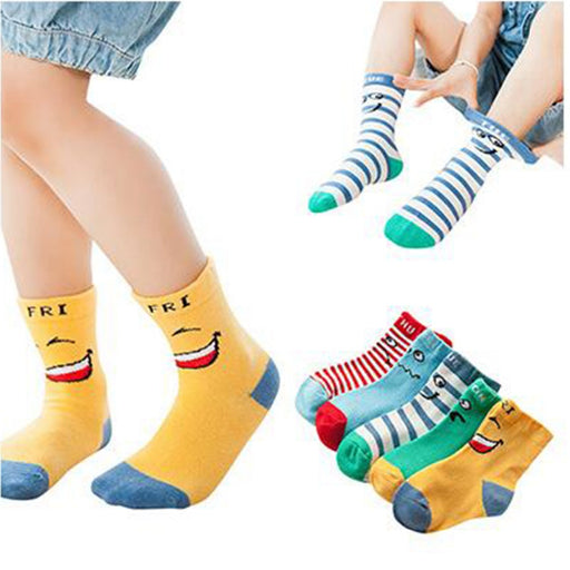 Kids socks smiley knee-high socks cotton autumn and winter children socks baby socks - KiddyLanes
