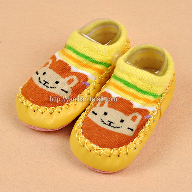 Baby shoes socks Children Infant Cartoon Socks Baby Gift Kids Indoor Floor Socks Leather Sole Non-Slip Thick Towel Socks - KiddyLanes