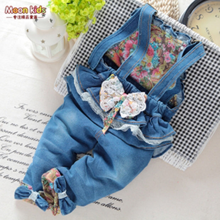 Hot sale Spring and autumn Baby girls bow denim bib pants - KiddyLanes