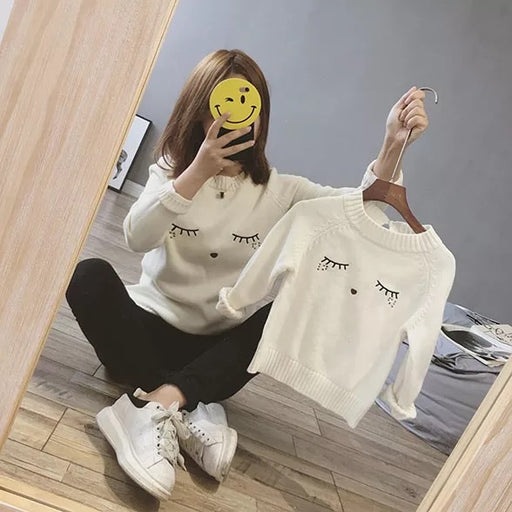 Mother and Daughter Clothes Fall Winter Sweatshirts Family Matching Sweaters