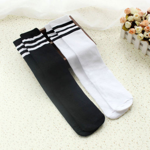Kids Knee High Socks For Girls Boys Football Stripes Cotton Sports School Style White Socks Skate Children Long Tube Leg Warm - KiddyLanes