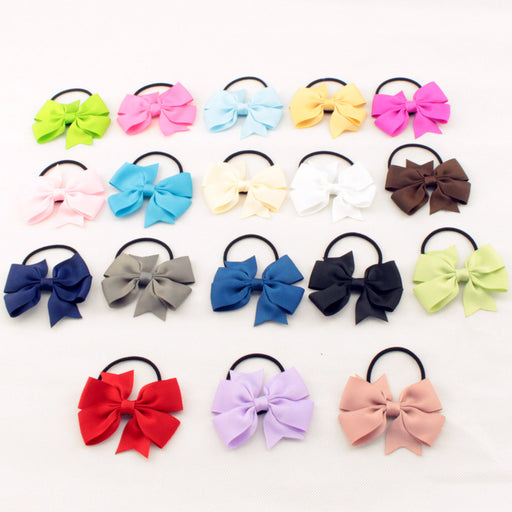 Fashion Cute Kids Ribbon Bow Elastic Hair Bands Sweet Hair Rope Hair Accessories Gift 20 Colors - KiddyLanes