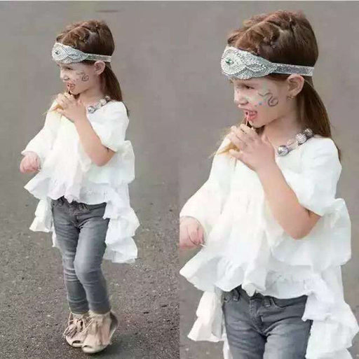 Girls Elegant Princess White Clothing Blouse /Children Baby Tops /Pretty Ruffled Cotton Outfits Tops - KiddyLanes