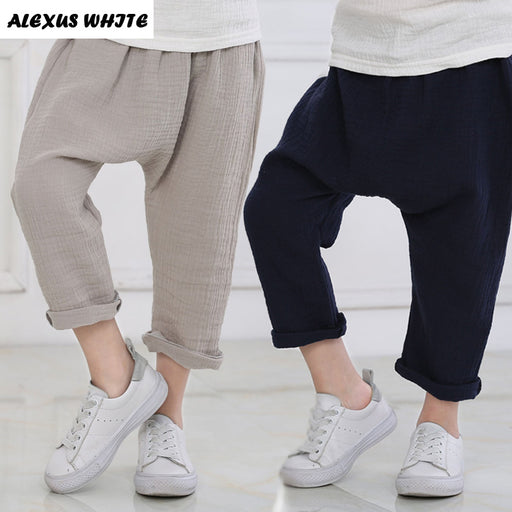 New 2-7y Summer Solid Color Linen Pleated Children Knee-length Pants for Baby Boys Girls Pants Harem Pants for Kids Child - KiddyLanes