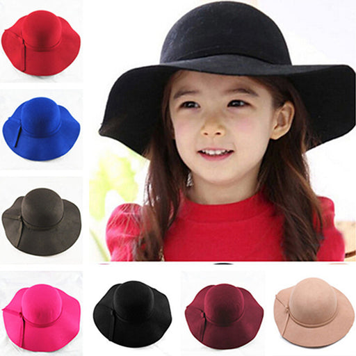 New Vintage Retro Kids Child Boy Girl Hats Fedora polyester Felt Crushable Wide Brim Cloche Floppy Sun Beach Cap - KiddyLanes