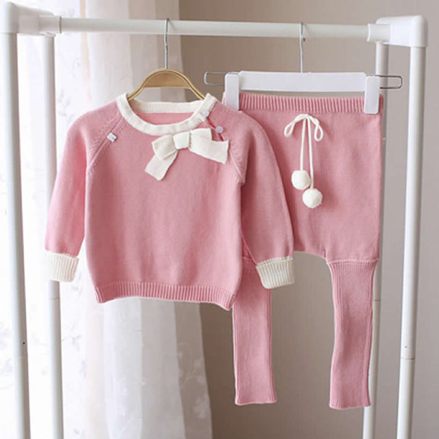 Children Sweaters Suit Baby Girl Coat+Pants Knitwear Kits Vetement Enfant Fille Toddler Sweater Girl Clothing Cotton Bow Fashion - KiddyLanes