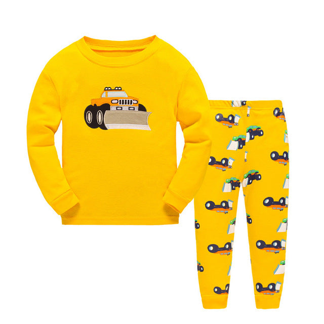 Children Cartoon Pajamas Clothing Sets Girls Casual long-sleeved Blouse+pant two-piece Suit Set Boys Kids Sleepwear Sets - KiddyLanes