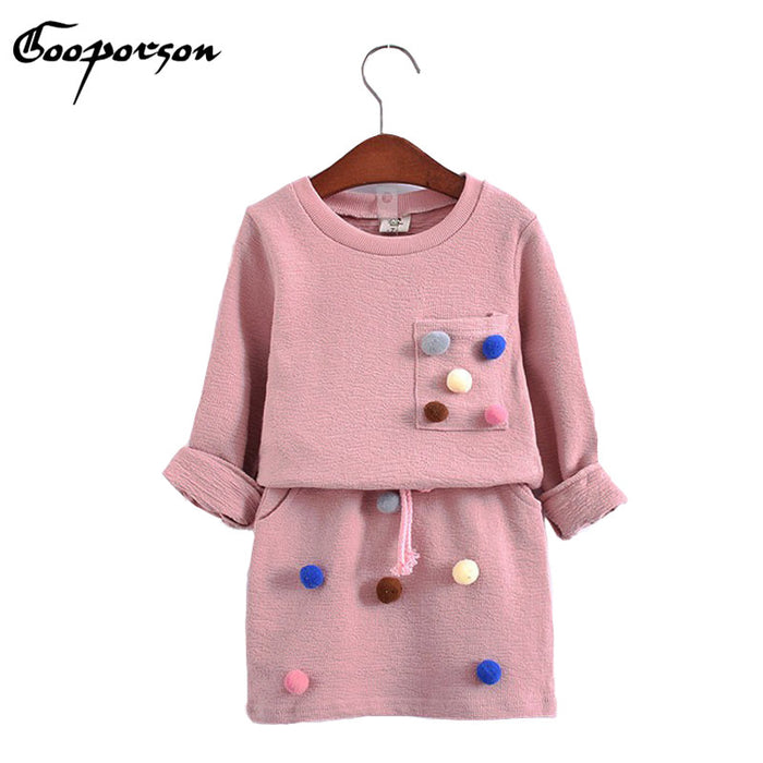 Girls winter clothing set long sleeve shirt with ball with pencil skirt pink and blue color fashion clothes set kids children - KiddyLanes