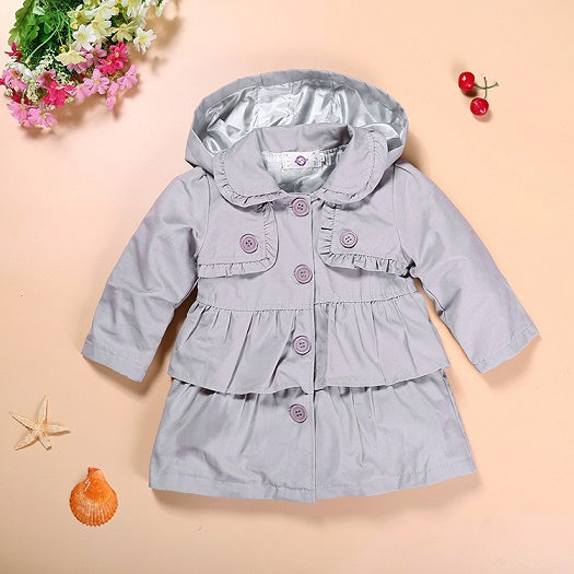 New girl coat girl's fashion outwear kids trench hoodies jacket top quality  kids clothes retail - KiddyLanes