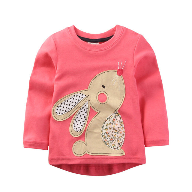 Girls T Shirt Baby Girl Clothes Kids Long Sleeve T-Shirts Cotton Camiseta T-shirt Roupas Infantis Menina Rabbit - KiddyLanes