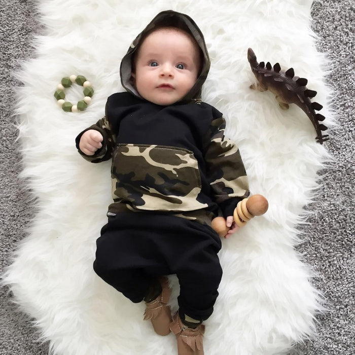 Unisex Autumn Newborn Baby  Clothing sets Hoodies Sweatshirt Camouflage Tops + Pants Toddler 2pcs Outfits Set Baby Clothes - KiddyLanes