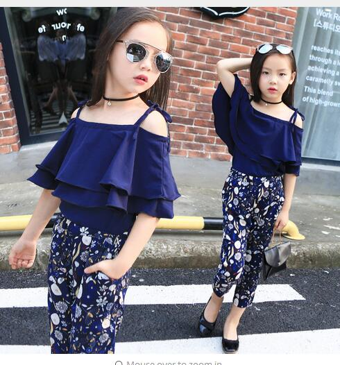 f5cbd1a27 Girls Set Clothes Kids Fashion Top Pant Two Piece Children Summer Suit  Girls Boutique Outfits 7 8 9 10 11 12 13 14 Years