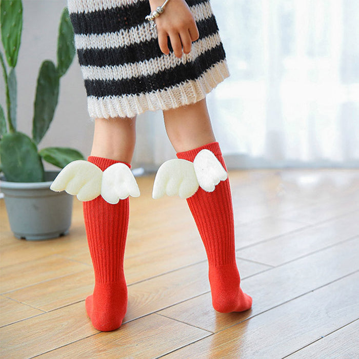Girls Kid Socks Angel Wing Child Long Knee Sock Candy Color Sock For Girls Child Vertical Stripedr Hose For 2-10Y Meia CL2060 - KiddyLanes